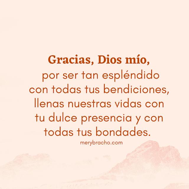 oracion corta accion de gracias por bendiciones que Dios nos da