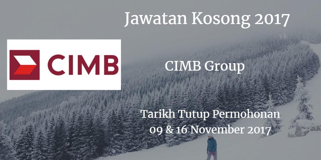 Jawatan Kosong CIMB Group 09 & 16 November 2017