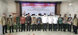 Dandim 1405/Mlts bersama FORKOPIMDA Barru hadiri Rapat Pleno Terbuka KPUD Kab. Barru