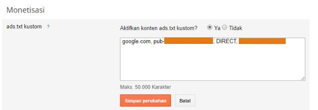 mengatasi masalah ads.txt