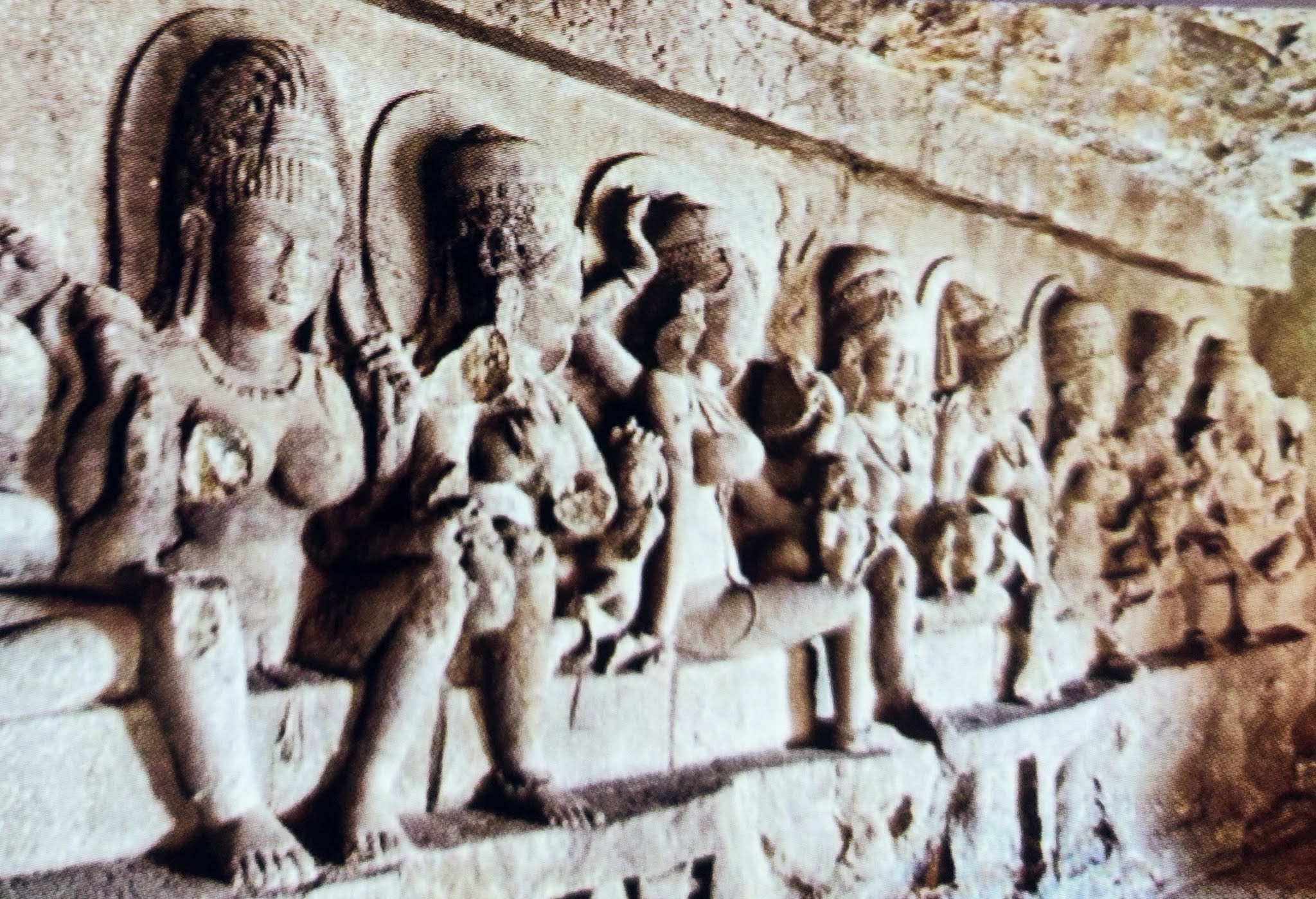 Image contains inside view of ellora cave
