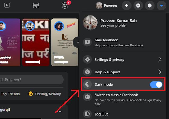Turn on Facebook Dark Mode on Desktop.