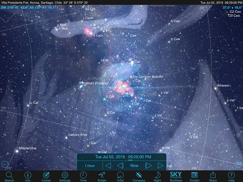 Sky Safari Pro screenshot showing sky location of Eta Carinae Nebula in Santiago, Chile (Source: Palmia Observatory)