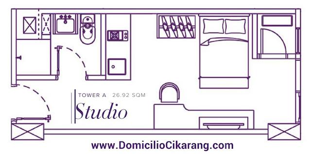 Denah Unit Studio Type Domicilio Apartment Cikarang