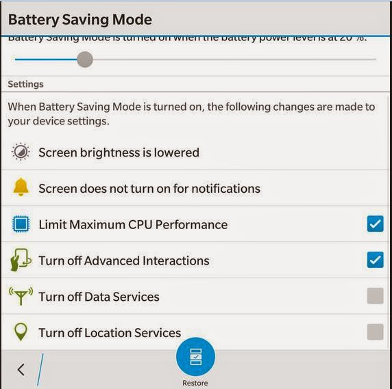 battery saving mode blackberry