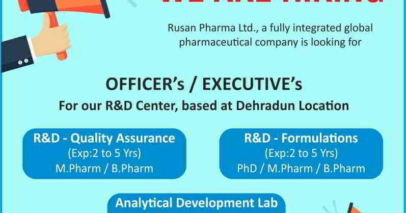 Rusan Pharma - Urgent Walk-in interview for QA / R&D
