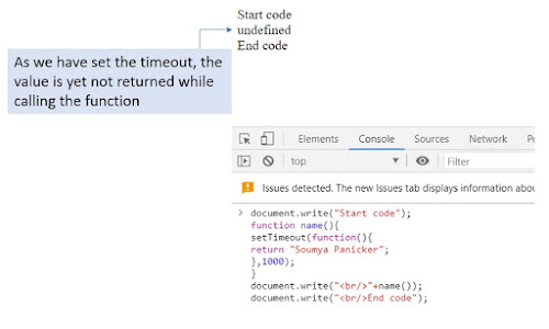 Asynchoronous JavaScript code in the web console with the output