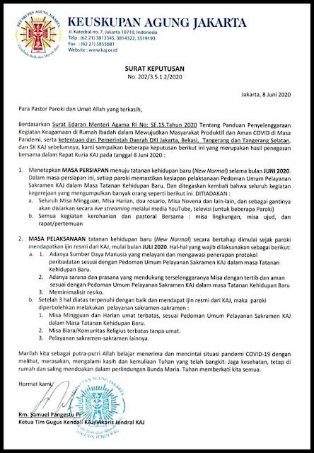 surat keputusan KAJ peribadatan gereja dibuka