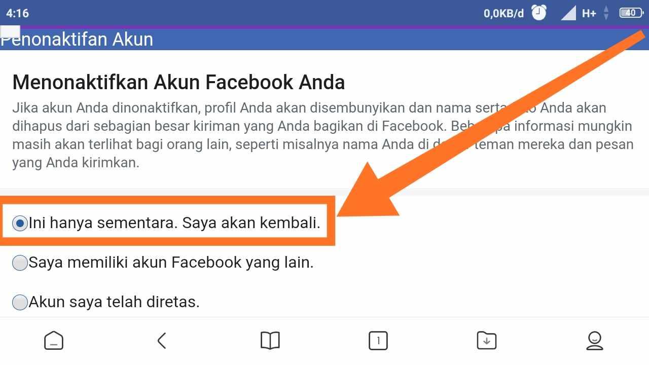 Cara MENONAKTIFKAN FB lite sementara Lewat HP