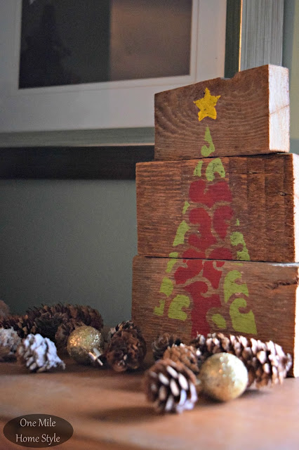 Stenciled Scrap Wood Christmas Tree with Cutting Edge Stencils - One Mile Home Style