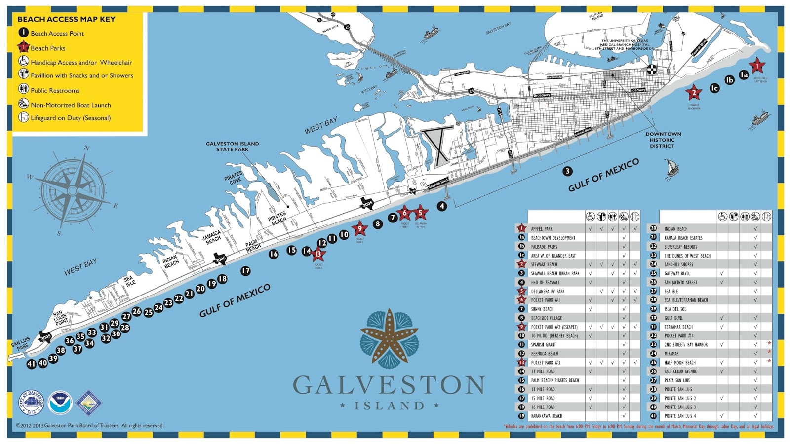 Below Is A Map Of Galveston Island Beaches The Paid Are Designated With Red Star Here Link To Larger Version Beach