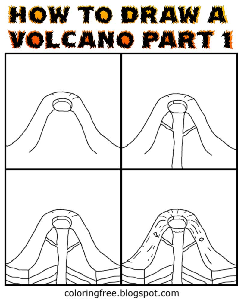 How To Draw A Volcano With Labels