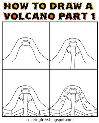 PT.1 learn easy drawing volcanos clipart how to draw a volcano printable volcanic pictures to colour
