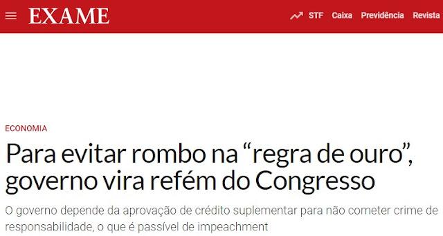Bolsonaro chama o Congresso à responsabilidade e avisa o que ocorrerá se não tratar a coisa com seriedade