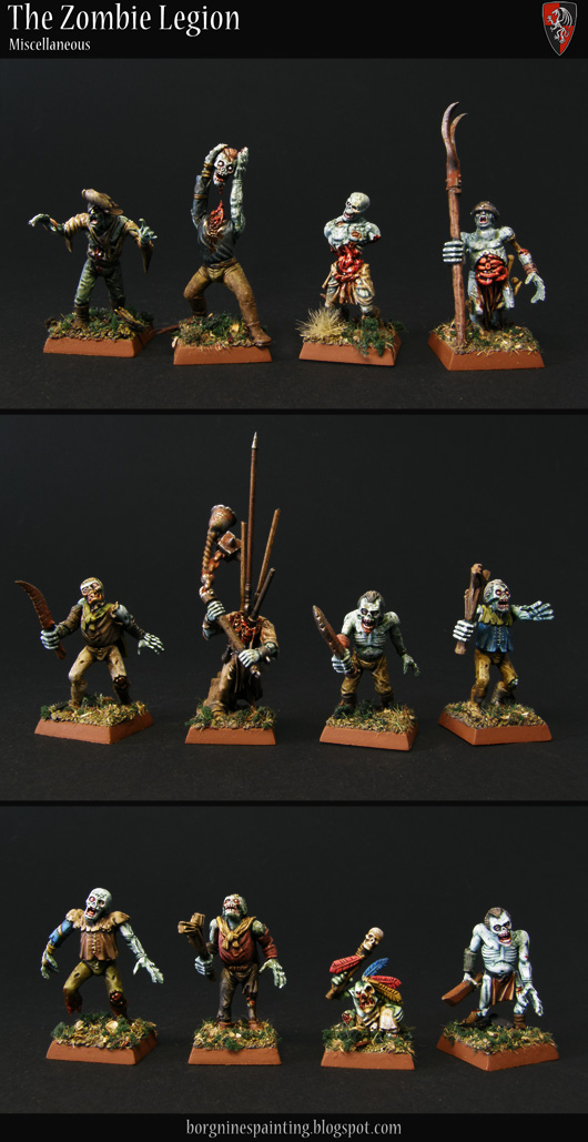 Diverse singular zombie miniatures kitbashed and converted to be used in my huge Zombie unit.