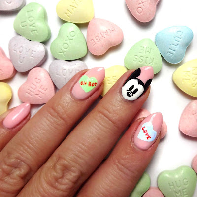 Mickey Conversation Heart Nails