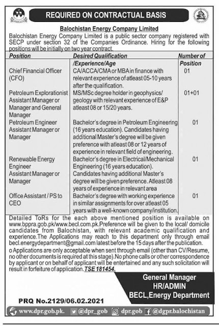 balochistan-energy-company-limited-becl-jobs-2021-for-manager-cfo