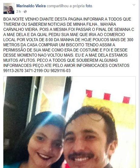 ATENÇÃO! Jovem de 16 está desaparecida e família pede ajuda para encontrá-la