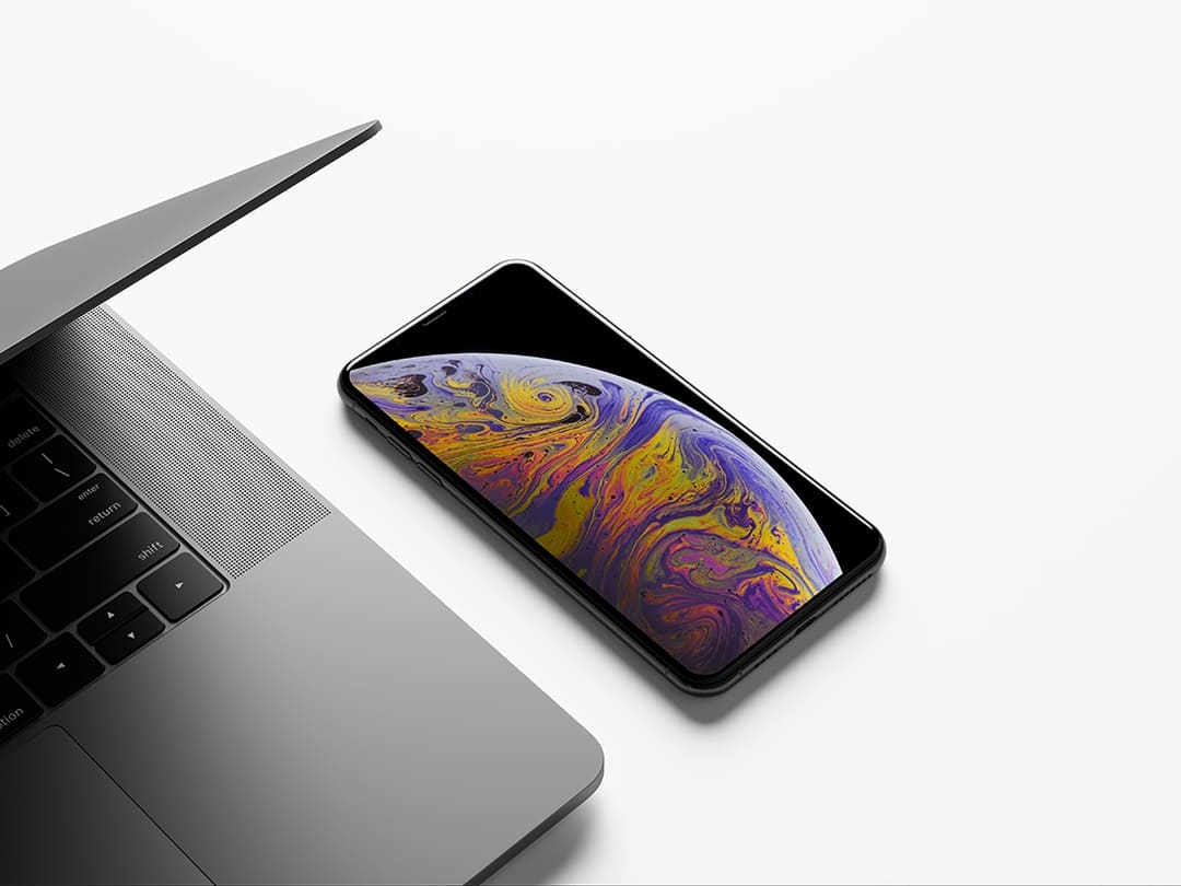 iPhone XS Max with MacBook Mockup