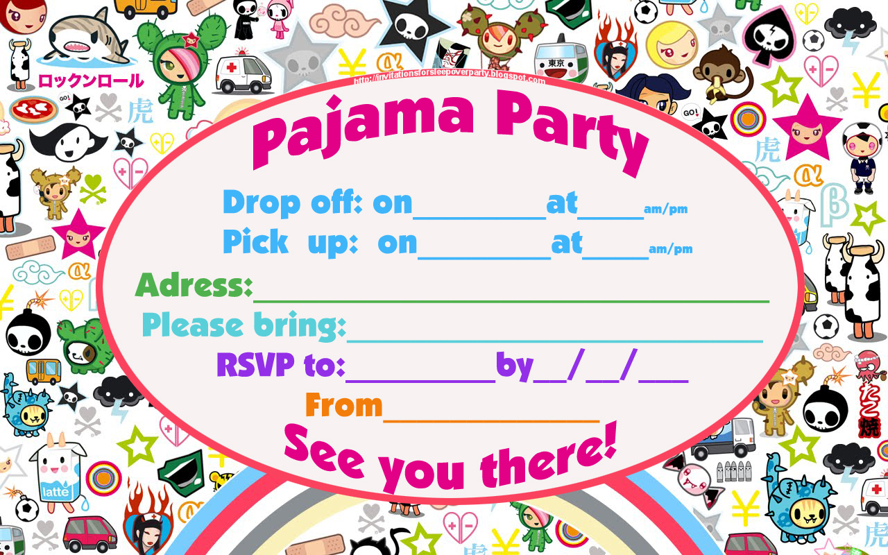 It is a photo of Free Printable Slumber Party Invitations with emoji