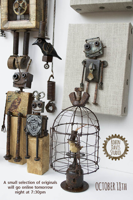Steampunk Birds and Robots by Robin Davis Studio