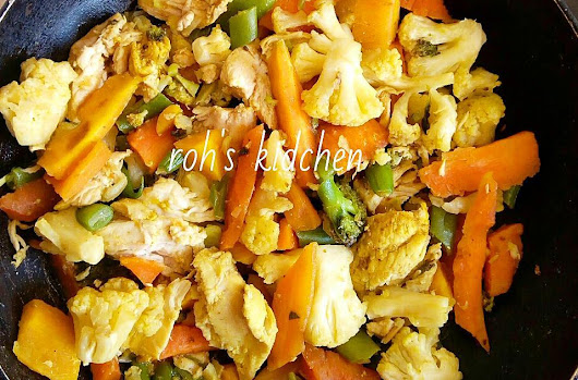 Easy Mixed veggie and chicken stirfry.