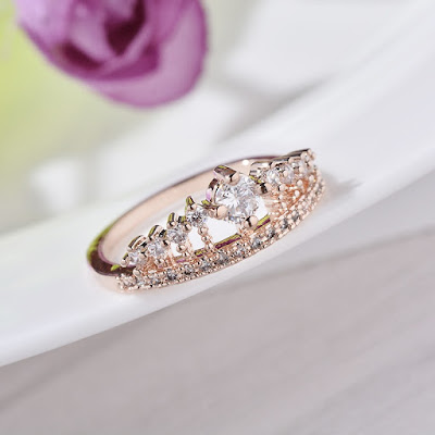 Crystal Rhinestone Crown Plated Ring