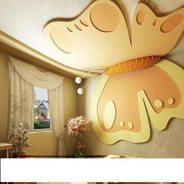 أشكال ديكورات فراشات جبس بورد غرف نوم بنات