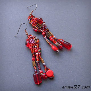 bohemian jewelry boho beaded earrings free form peyote red