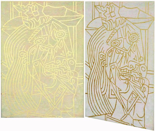 Hamburg Kunst Malerei, Malerei mit Blattgold, Picasso 1