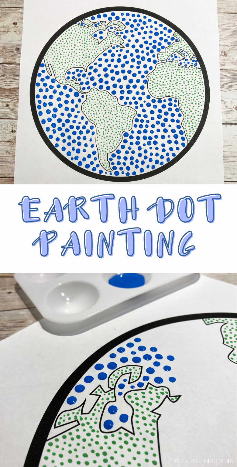 Earth day art. Dot painting with earth template. Easy dot art for kids.