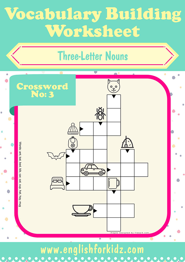 Printable esl worksheets, crossword puzzle to learn English three letter nouns