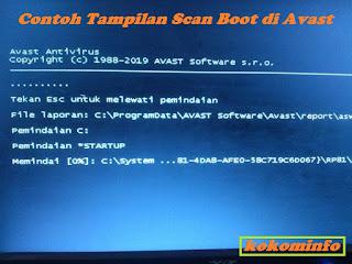 Tampilan Scan Boot dengan Avast di PC