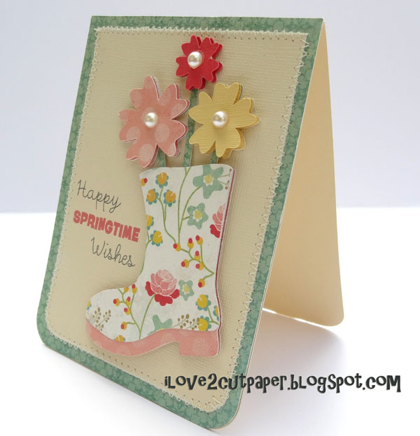 Boot, Wellington Boot, springtime card, ilove2cutpaper, LD, Lettering Delights, Pazzles, Pazzles Inspiration, Pazzles Inspiration Vue, Inspiration Vue, Print and Cut, svg, cutting files, templates, Silhouette Cameo cutting machine, Brother Scan and Cut, Cricut