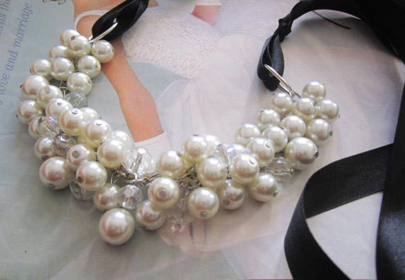 Ivory Cluster Necklace with Black Ribbon Tie