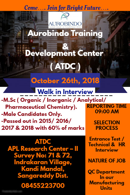 AUROBINDO PHARMA LTD Walk In Interview For Freshers at 26 October