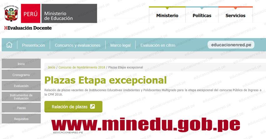 MINEDU: Plazas Vacantes Nombramiento Docente 2018 (Etapa Excepcional) www.minedu.gob.pe