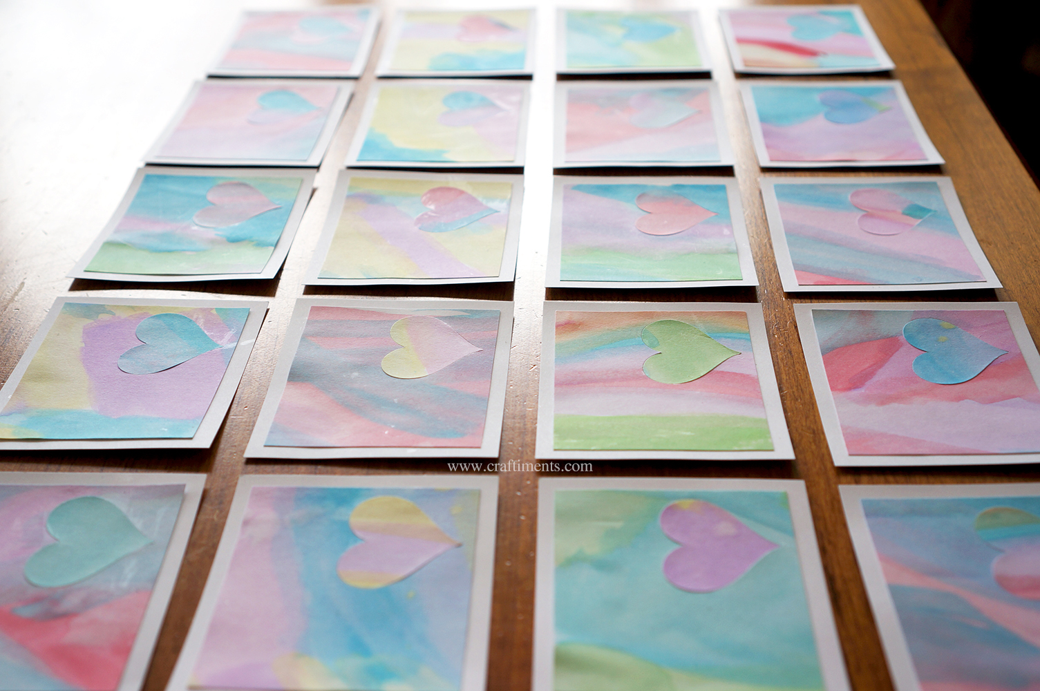 Kids' watercolor paintings made into Valentine's Day cards