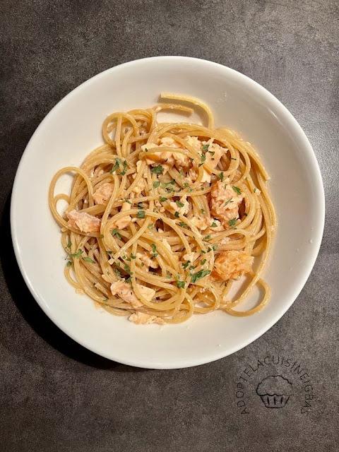 spaghettis aux deux saumons