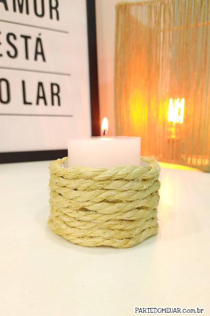 Porta velas corda de sisal