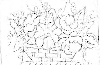 risco de cesta de rosas para pintar