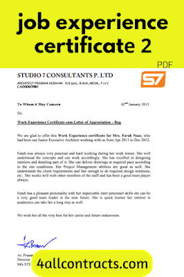 work experience certificate pdf