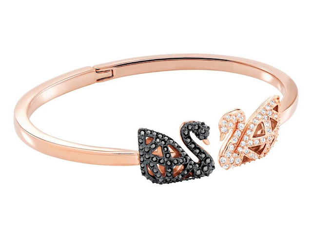 Black and White Swarovski Crystal Swan Bangle Bracelet