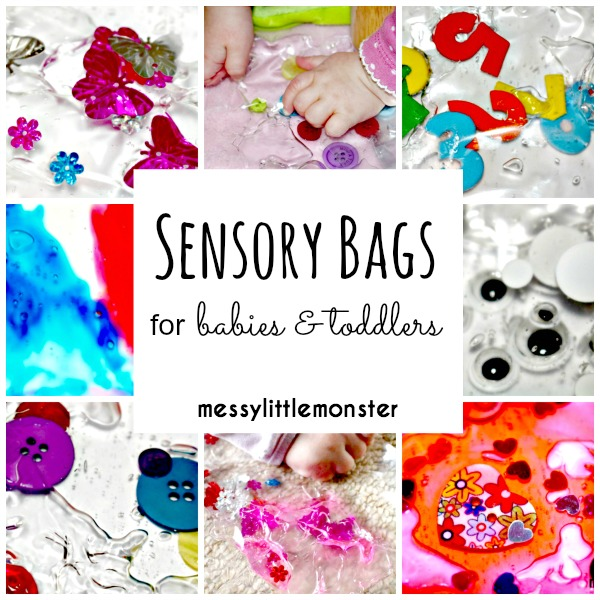 Easy instructions on how to make sensory bags for babies and toddlers using laminator pouches and gel.  We have 6 sensory bag ideas, Spring, buttons, numbers, googly eyes, colour mixing and hearts. Simple no mess play ideas for kids.