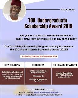 TOD Undergraduate Scholarship Award 2019 for Ogun West Indigenes