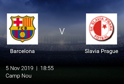 LIVE MATCH: Barcelona Vs Slavia Prague UEFA Champions League 05/11/2019