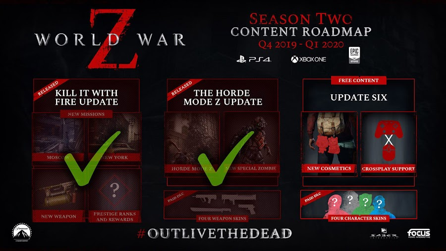 world war z season 2 updated roadmap pc egs ps4 xb1 saber interactive mad dog games