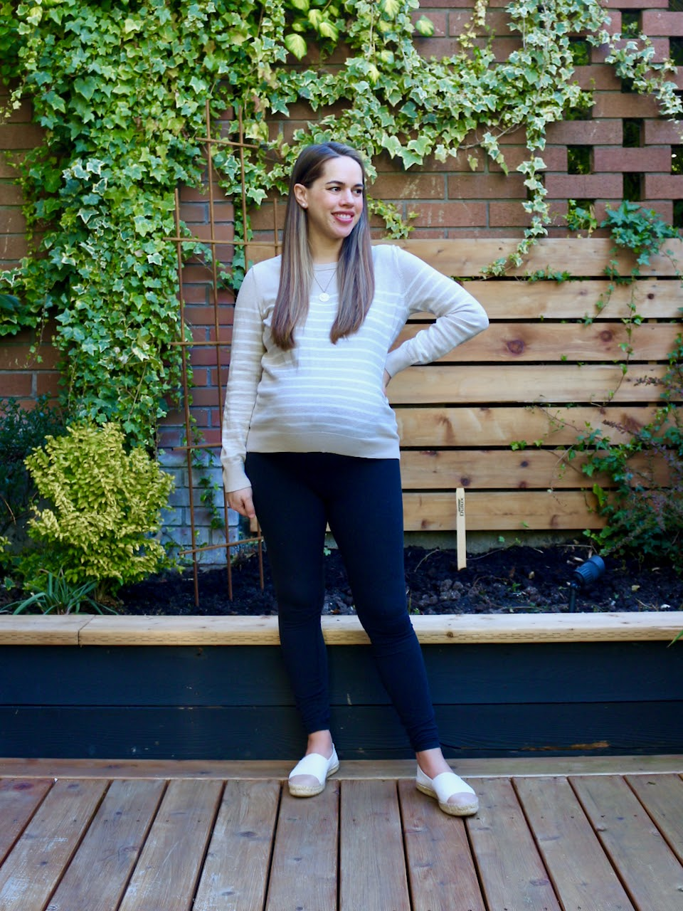 Jules in Flats - Striped Sweater + Leggings WFH Outfit (Business Casual Workwear on a Budget)