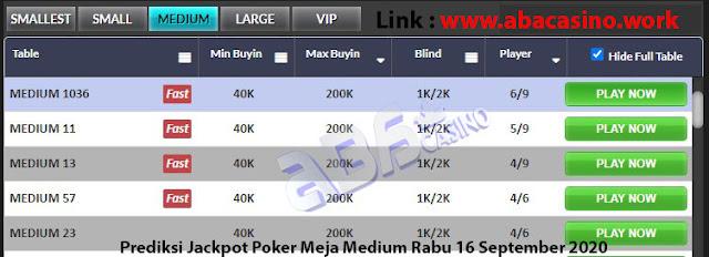 prediksi jackpot poker meja medium rabu 16 september 2020