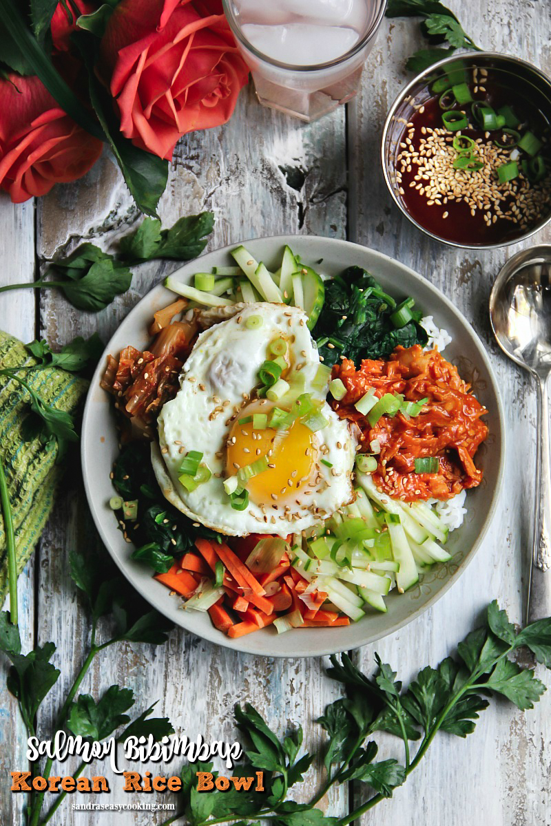 Salmon Bibimbap — Korean Rice Bowl #NationalSalmonDay #SalmonLovesRice #sponsored